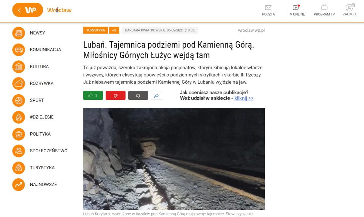 Artykuł o lubańskich podziemiach na wroclaw.wp.pl